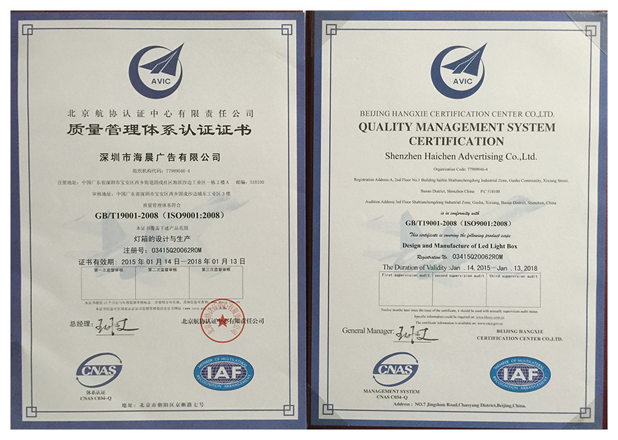 Iso9001:2008 enterprise certification