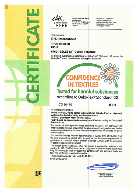 PEARL oeko-tex 100 stretch fabric environmental protection certificate